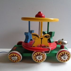 Vintage Swedish BRIO Merry-Go-Round Wood Pull Toy